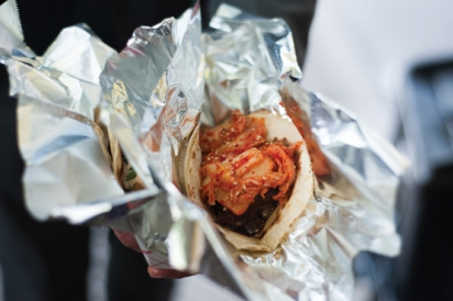 Different Taco Options such as Korean Braised Beef Short Rib with Kimchi