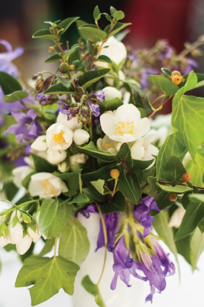Centerpieces with local and in-season blooms