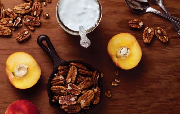 Peaches, Plain Greek Yogurt and Pecans