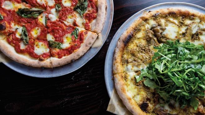 Mezzo's Margherita and Pistachio Pizzas