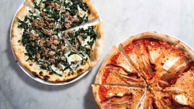 Piccolo Forno's Cavolo Nero e Tartuffo and Speck e Mascarpone pizzas