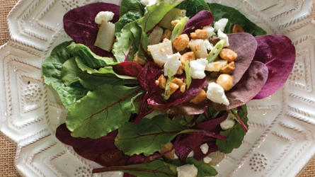 Spring Salad with Roasted Sunchokes, Hazelnuts + Goat Cheese