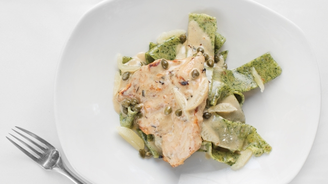 Chicken Piccata with Arugula and Roasted Garlic Pasta