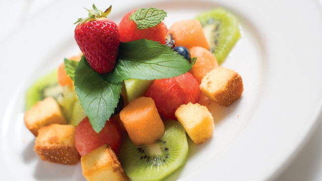 "Fruit Salad with Honey Mint ""Ranch"" Dressing + Pound Cake ""Croutons"""