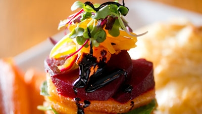 Goat Cheese with Herb en Croute, Roasted Beets + Balsamic Reduction