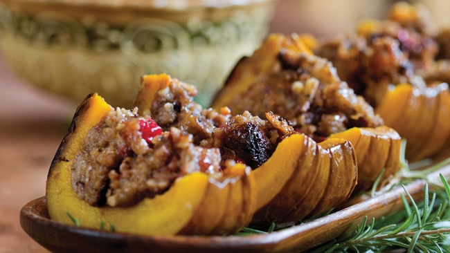 Roasted Pumpkin with Cranberry and Walnut Stuffing Recipe