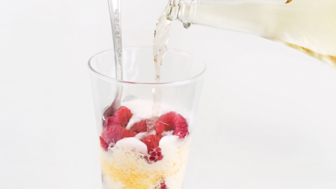 Peach and Red Raspberry Sparkling Float