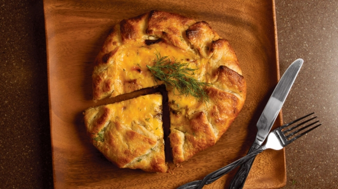 Dilled Potato and Caramelized Onion Tart