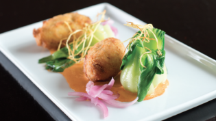 Salted Cod Croquettes with Sriracha Aioli, XO Sauce, and Crispy Ginger